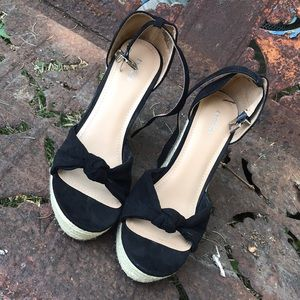 95d6169a2 Express Shoes - Express black bow knot wedge sandals